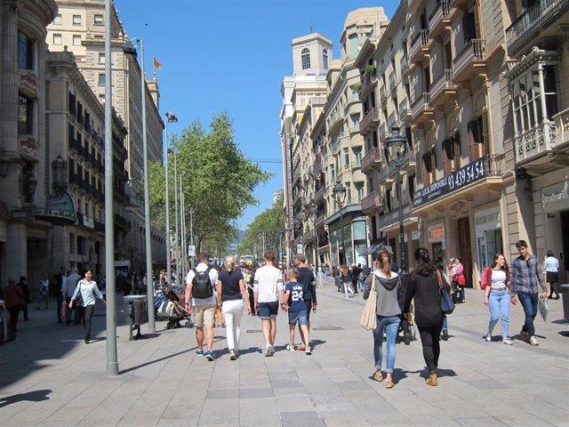 Zona comercial del centro de Barcelona