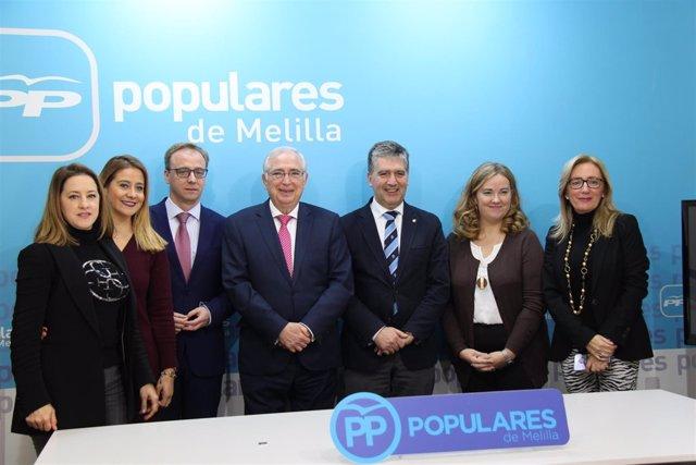 Ignacio Cosidó, con parlamentarios de Ceuta y Melilla
