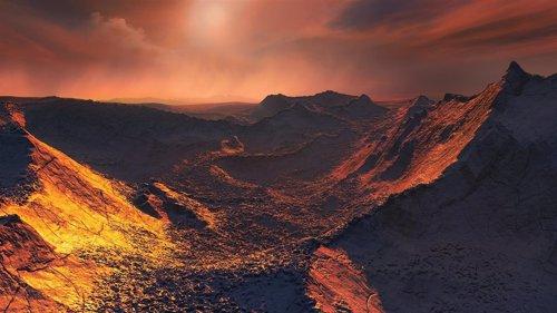 Recreación artística de la supertierra que orbita la Estrella de Barnard