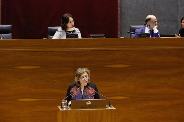 La consejera navarra Isabel Elizalde, en el pleno del Parlamento.