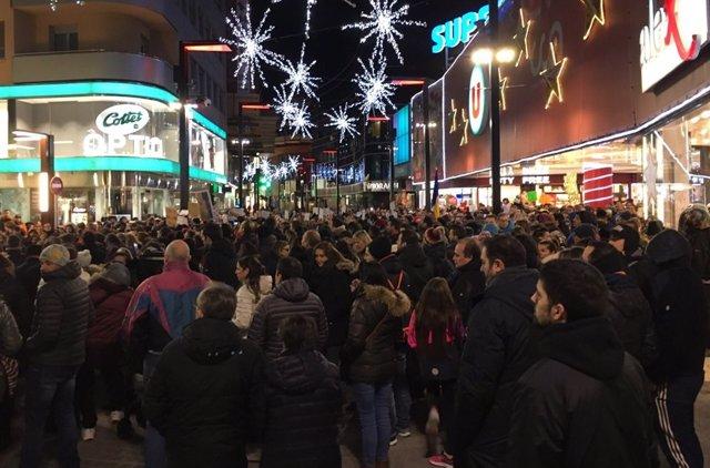 Manifestación sindical del pasado 17 de diciembre en Andorra