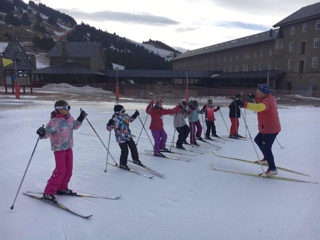 Sesión de esquí nórdico