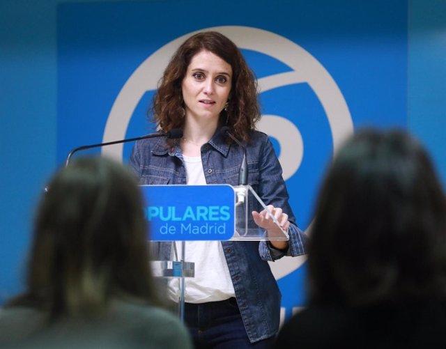 La portavoz del PP de Madrid, Isabel Díaz Ayuso