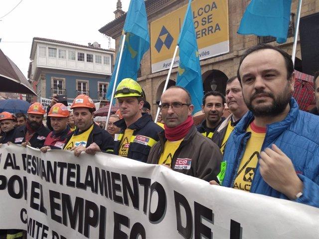 Manifestación en defensa de Alcoa en Avilés.