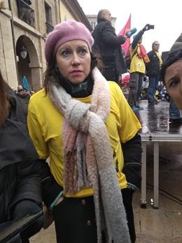 Nuria Rodríguez durante la movilización de Alcoa.