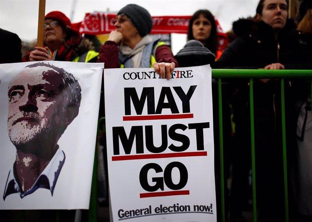 Manifestación contra Theresa May en Londres