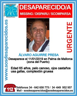 Cartell de desaparegut A. Aguirre Presa