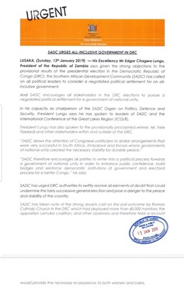 Comunicado SACD República Democrática del Congo