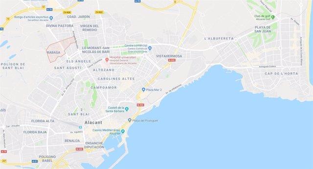 Localización del barrio de Rabasa, en Alicante