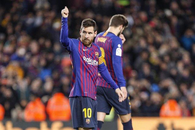 Leo Messi celebra su gol ante el Eibar