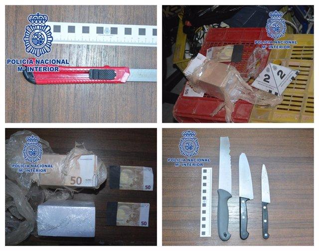 Imagen de las armas y del dinero intervenido por la Policía Nacional