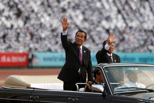 Hun Sen, en el acto para conmemorar 40 años de la caída de los Jemeres Rojos