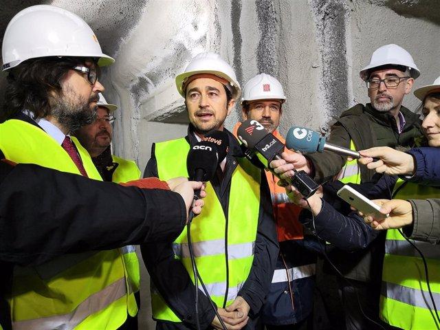 El Conseller Damià Calvet Visita Las Obras De La Estación De FGC De Provença