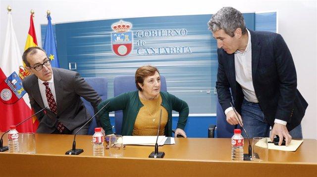 Benigno Caviedes, María Luisa Real y Eduardo Miñambres