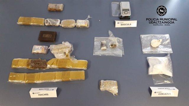 Droga incautada por la Policía Municipal de Pamplona en las detenciones
