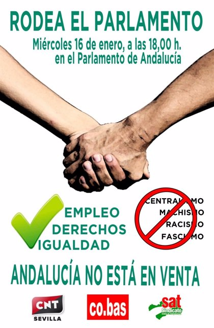 El SAT convoca a 'rodear el Parlamento' coincidiendo con la votación de la investidura de Moreno