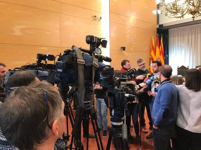 Declaraciones a los medios del alcalde de Badalona Álex Pastor