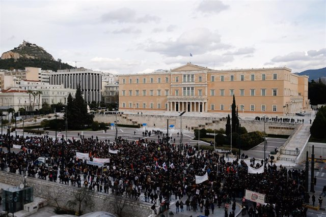 Manifestación de profesores en Atenas