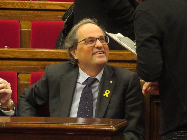 El presidente de la Generalitat, Quim Torra, en un pleno del Parlament
