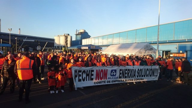 Protesta de trabajadores de Alcoa de A Coruña