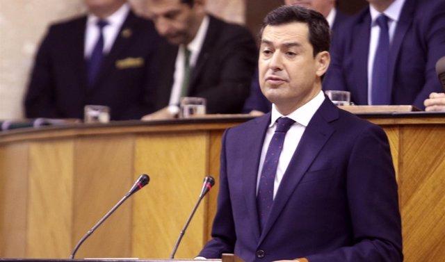 Juanma Moreno interviene en el debate de investidura