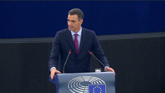 El presidente del Gobierno, Pedro Sánchez, interviene en el Parlamento Europeo