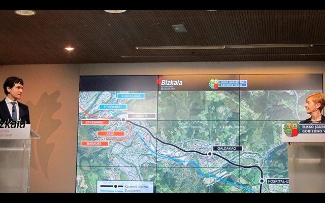 Gobierno Vasco y Diputación iniciarán en 2021 la conexión del hospital y el centro de Galdakao con la red de EuskoTren