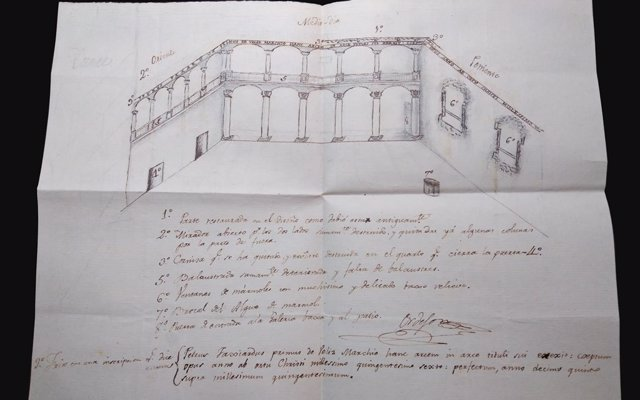 Descubren un croquis inédito del Patio del Castillo de Vélez-Blanco (Almería) de principios del siglo XIX