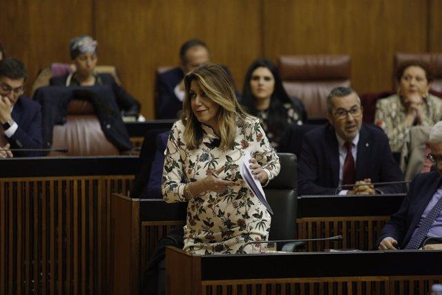Susana Díaz, este miércoles en el Pleno del Parlamento
