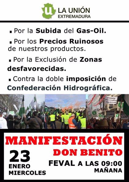 """La Unión convoca una tractorada el 23 de enero en Feval para pedir a Luis Planas medidas contra la """"ruina del sector"""""""