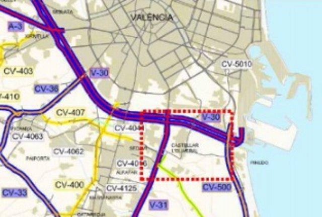 Fomento licita obras de mejora de trazado en el ramal de incorporación de la V-31 a V-30 al Puerto de València