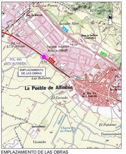Fomento licita las obras para la construcción de una glorieta en la N- II, en La Puebla de Alfindén