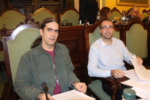 Sergi Talamonte i Carlos González, regidors del Comú de Lleida.