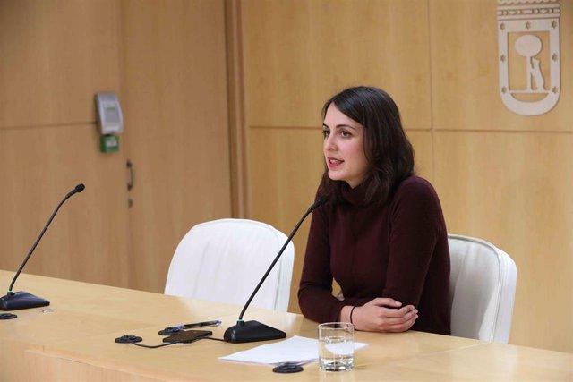La portavoz del Ayuntamiento de Madrid, Rita Maestre, en rueda de prensa Junta