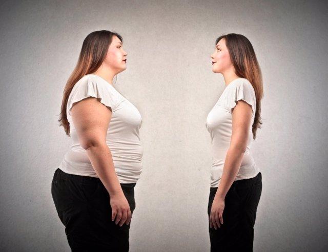 Mujer, gorda y delgada, anorexia