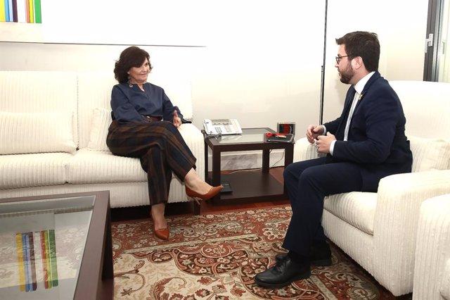 Carmen Calvo es reuneix a La Moncloa amb Pere Aragonés