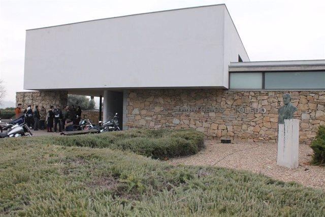 Tanatorio municipal de Toledo durante el funeral de Laura Sanz