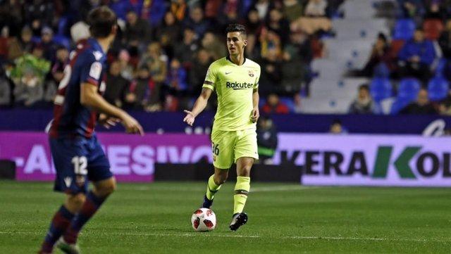 El jugador del FC Barcelona Chumi en el duel contra el Llevant en Copa
