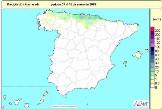 España se mantiene en déficit de lluvias acumuladas desde octubre, que se eleva