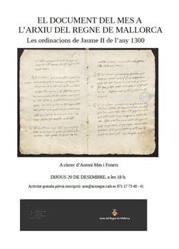 Cartel presentación ordenanzas Jaime II