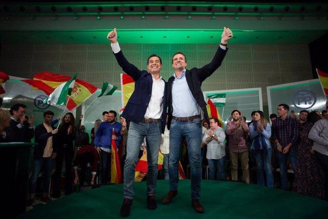 En Sevilla, mitin de cierre de campaña del candidato del PP-A a la Presidencia d