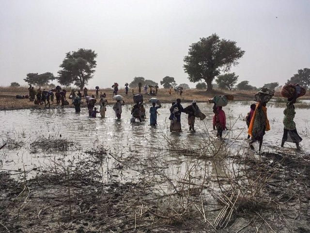 Desplazados por un ataque en Rann, Nigeria