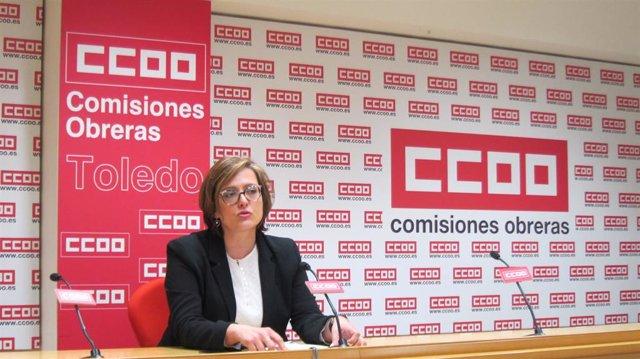 La Secretaria de Acción y Formación Sindical de CCOO CLM en rueda de prensa