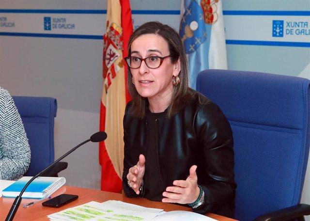 A conselleira de Infraestruturas e Vivenda, Ethel Vázquez, en rolda de prensa