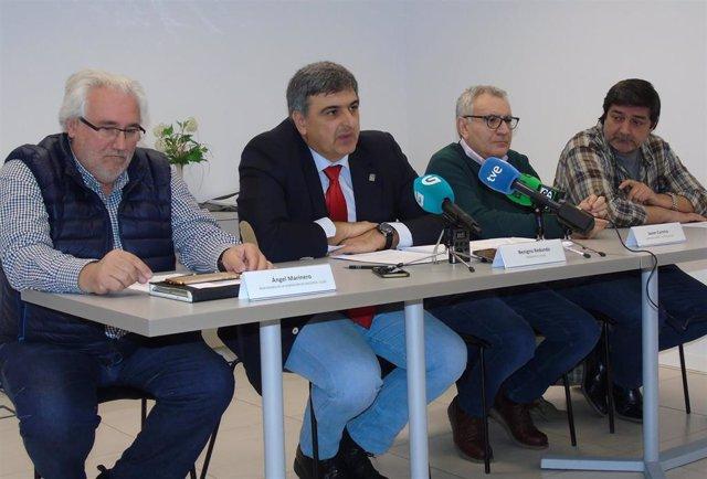 Representantes de Fegaes, CCOO, CIGA y UGT, en rueda de prensa