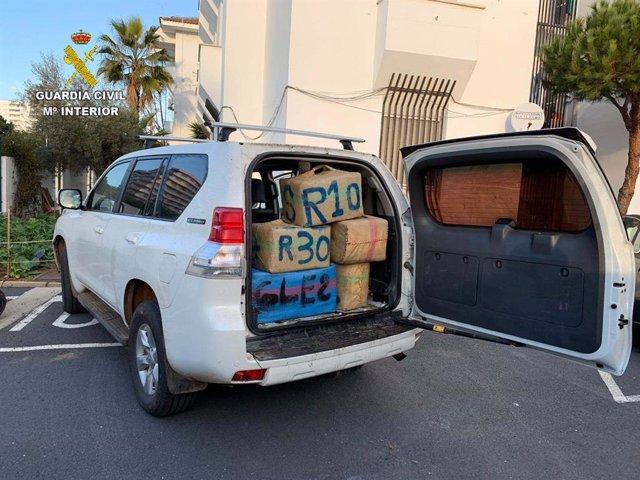 Fardos de hachís intervenidos en Punta Umbría