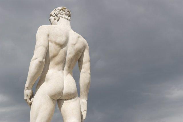 Escultura, trasero, culo