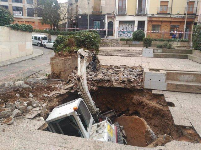 Hundimiento de una grúa en Guadalajara