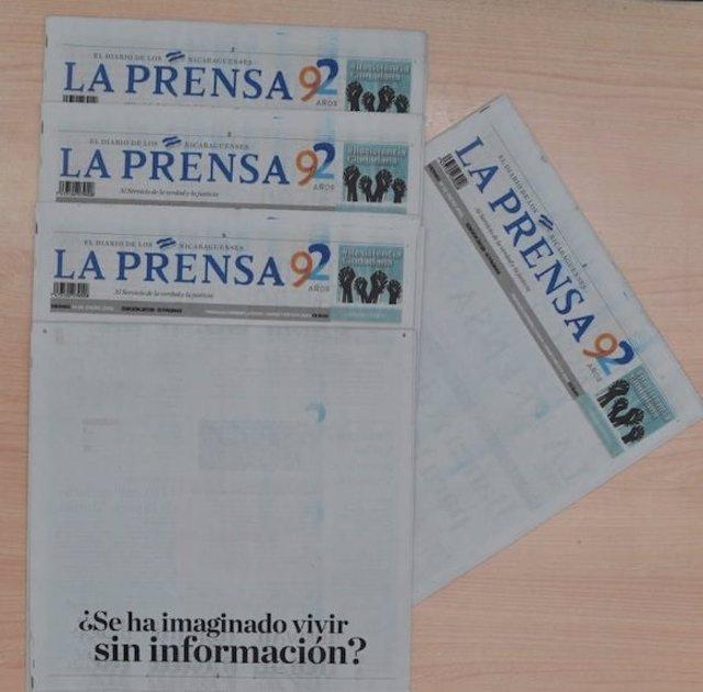 Portada en blanco de 'La Prensa' en protesta contra el Gobierno de Nicaragua