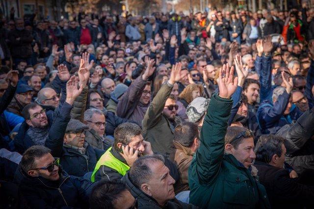 Assemblea de taxistes a Barcelona